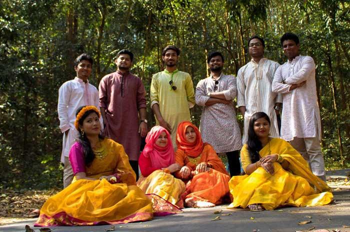 Bangladeshi Boys & Girl Celebrating Pohela Falgoon