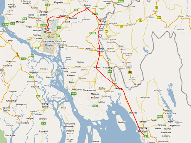 Dhaka to Chittagong Train Route Map