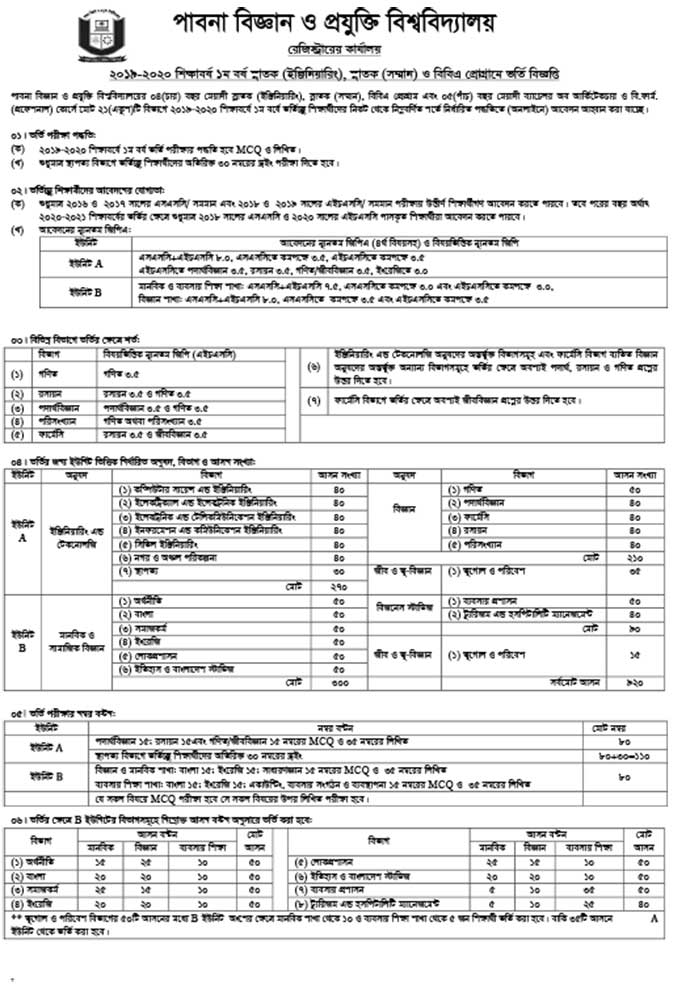 Pabna University of Science Technology PUST Admission 2019 20