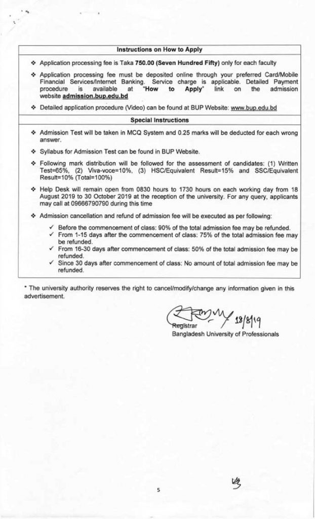 bup admission circular 2019 20 Page five